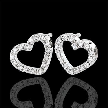 women White Gold Zadig Heart Earrings