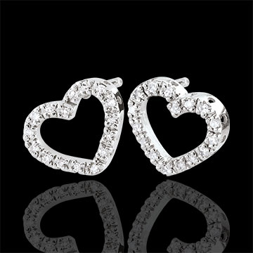 wedding White Gold Zadig Heart Earrings