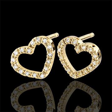 gift women Yellow Gold Zadig Heart Earrings