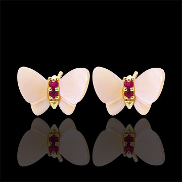 sell on line Earrings Imaginary Walk - Yellow gold mother-of-pearl Butterflies - mother-of-pearl and ruby