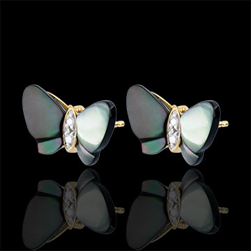 weddings Earrings Imaginary Walk - Mother-of-pearl Butterflies - mother-of-pearl and diamonds