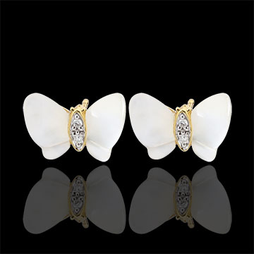gifts women Earrings Imaginary Walk - Mother-of-pearl Butterflies - mother-of-pearl and diamonds
