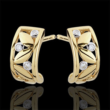 gift Freshness Earrings - Creole Foliage - yellow gold - 9 carats