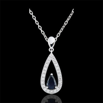 present Soraya Diamond and Sapphire Tear-drop Pendant