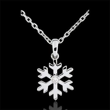 regali donne Ciondolo Fiocco d'inverno - Oro bianco - 9 carati - 1 Diamante