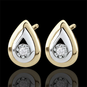 sell Yellow Gold and White Gold Antelope Tear-drop Stud Earrings