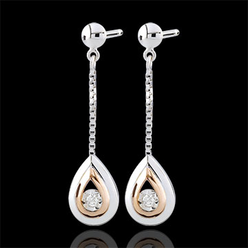 gift woman Earrings Tears of an antelope - pendants rose gold and white gold