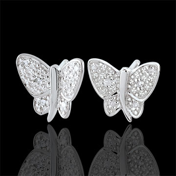 gold jewelry Earrings Imaginary Walk - Butterfly Musician - White Gold