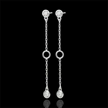 gift women White Gold Satin Earrings