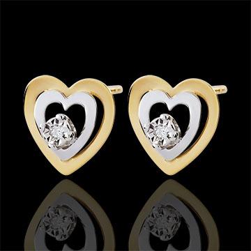 gift woman Bi-colour Gold Boudoir Heart Earrings