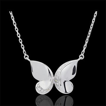 vendita on-line Collana Passeggiata Immaginaria - Farfalla a cascata - Oro bianco - 9 carati - Diamanti