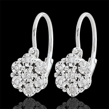 gifts Earrings Freshness - Flower Snowflake - 14 diamonds and white gold