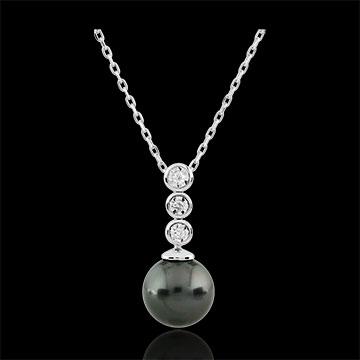Geschenk Frau Collier Trilogie sur Perle - 3 Diamanten