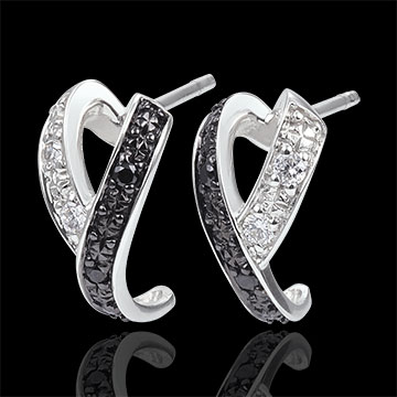 gift woman Earrings Clair Obscure - Motion - white gold diamonds, white and black diamonds