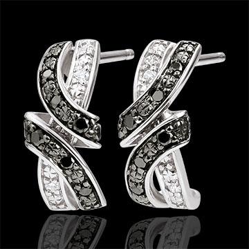 bijou Boucles d'oreilles Clair Obscur - Rendez-vous - diamants noirs - or blanc 9 carats