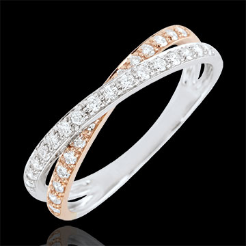 sales on line Wedding Ring Saturn Duo double diamond - rose gold and white gold - 18 carat