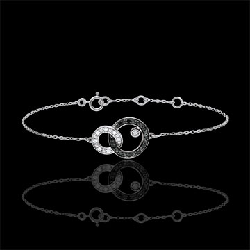 gift Bracelet Clair Obscure - white gold - Moon Duo - black and white diamonds