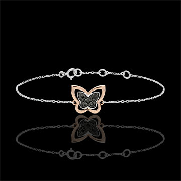 present Bracelet Imaginary Walk - Lunar Butterfly - rose gold and black diamonds - 9 carat