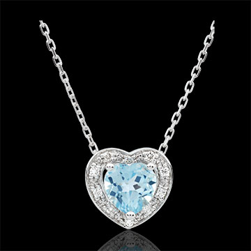 sell Enchanting Blue Topaz Heart Necklace - 18 carats