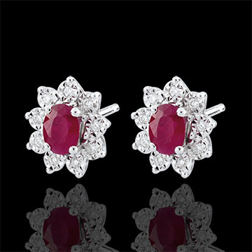 sales on line Illusionary Daisy Ruby Earrings