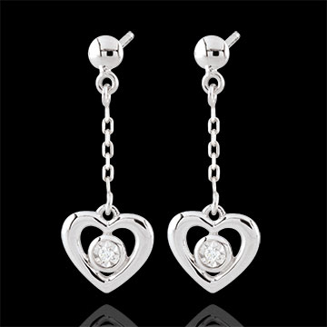 present White Gold Pendulum Heart Earrings