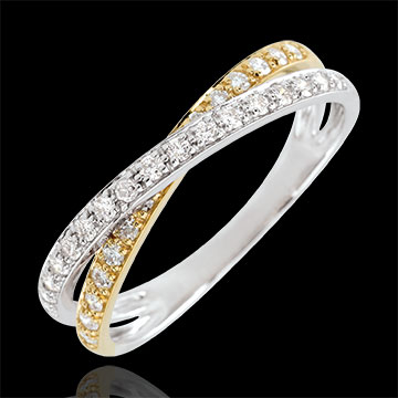 gift women Wedding Ring Saturn Duo double diamond - yellow and white gold - 18 carat