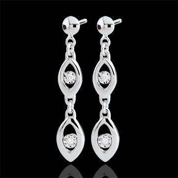 jewelry White Gold Peacock Charm Earrings - 18 carats