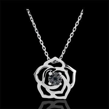 Goldschmuck Collier Frische - Wahrhaftige Rose - Weißgold und schwarze Diamanten - 9 Karat