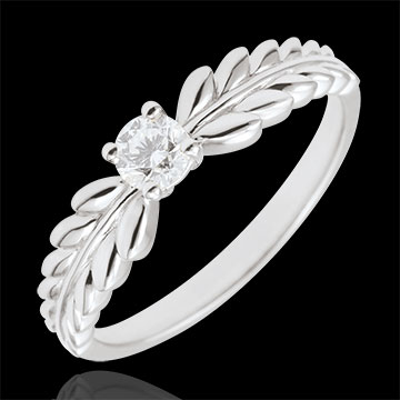 present Ring Enchanted Garden - Solitaire Fresia - white gold - 0.20 carat - 18 carat