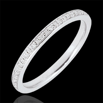 jewelry White Gold Wedding Band, fully encrusted with diamond beads