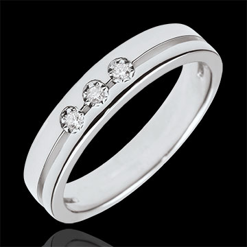present White Gold Olympia Trilogy Wedding Band - Small Model