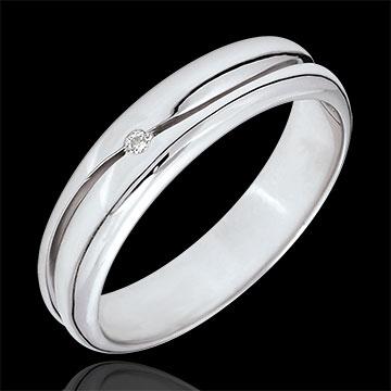 Geschenk Ring Amour - Herren Trauring in Weißgold - Diamant 0.022 Karat - 9 Karat