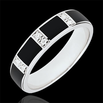 compra on-line Anello Chiaroscuro - Oro bianco - 9 carati - Lacca nera - Diamanti
