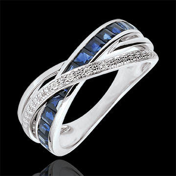 jewelry Ring Little Saturn variation 1 - white gold, sapphires and diamonds - 9 carat