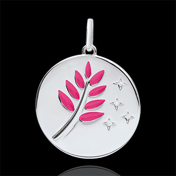 gift women Pink Lacquer Olive Branch Medal with 4 diamonds - 9ct