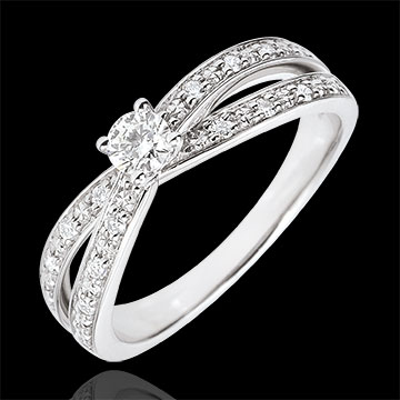 jewelry Solitaire Ring Saturn Duo double diamond - white gold - 0.15 carat - 18 carat