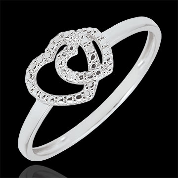 gifts woman White Gold Diamond Ring - Consensual Hearts