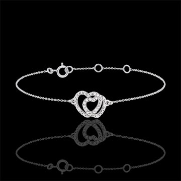 gift woman White Gold Diamond Bracelet -Heart Accomplices - 9 carats