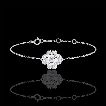 gifts Bracelet Solitair Freshness - Sparkling Clover - white gold and diamonds