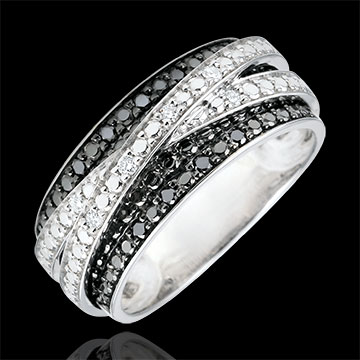 wedding Ring Clair Obscure - Shadow - white gold and black diamonds
