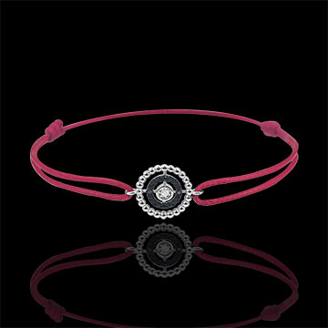 gift women Bracelet Salty Flower - circle - white gold and diamonds - red cord