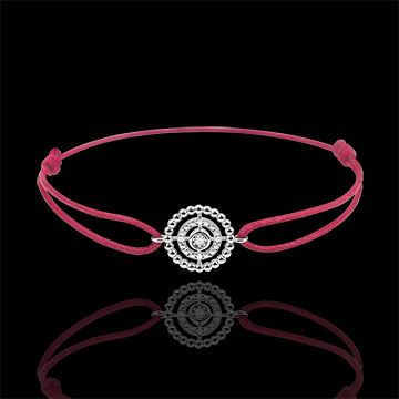 sales on line Bracelet Salty Flower - circle - white gold - red cord