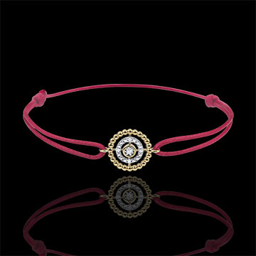 gift woman Bracelet Salty Flower - circle - yellow gold - red cord