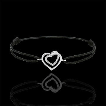 gifts White Gold-Black-Cord-Entwined-Heart-Bracelet