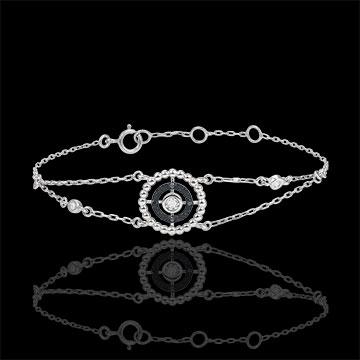 gift Bracelet Salty Flower - circle - white gold and black diamonds