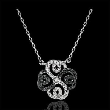 Frau Collier Frische - Weißgold, schwarze und weiße Diamanten - Verspielter Klee