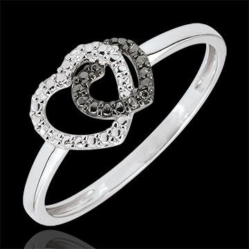 Geschenke Ring Weissgold weisse- und schwarze Diamanten - Herzen Komplizen