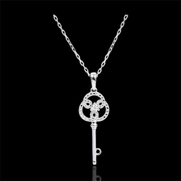 weddings Rose and White Gold Diamond Eternity Key Pendant with a white gold chain