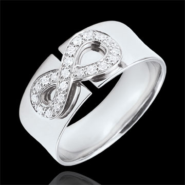 present Infinity Ring - white gold and diamonds - 9 carats