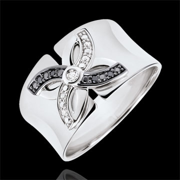 gifts women Ring Freshness - Lilies of summer - white gold and black diamonds - 9 carat